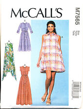 MCCALL'S SEWING PATTERN 7565 MISSES 6-14 FLARED SWING SHIRT DRESS W/ MAXI OPTION