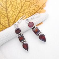 Granat rot rund eckig Tropfen Design Ohrringe Ohrhänger 925 Sterling Silber neu