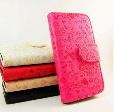 Heart Cute Leather Wallet Case Cover For Samsung i8160 Galaxy Ace 2