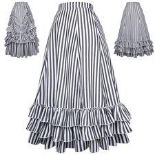 Women High Waist Stripes Bustle Skirt Dress Adjustable Ruffle Flared Retro Skirt