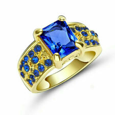 US SELLER Blue SAPPHIRE SIMULATED Band Ring Yellow GOLD Plated Gift size 8