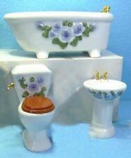 A 3 piece Bathroom Set , Porcelain White  With Blue Floral Decoration 12th Scale