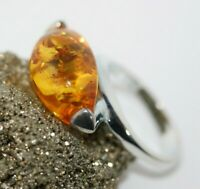 Antique Genuine 925 Silver 8.5CT Honey Brown Cognac Fab Fire Amber Ring Sz 7.5