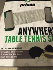Prince Anywhere Table Tennis To Go Set 2 rackets 3 Balls Net and storage