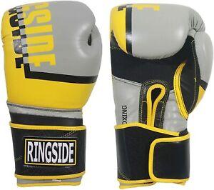 Ringside Omega Leather Boxing & Kick KickBoxing 16oz Yellow/Silver