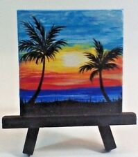 Original Mini Canvas Painting featuring a Blue and Yellow Sunset Silhouette