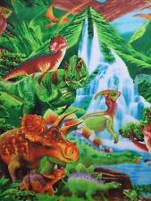 Dinosaur Green Brontosaurus Triceratops TRex Timeless Treasures Fabric Yard
