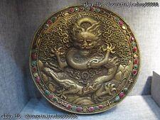 "13""Tibet Buddhism Copper Gild inlay bery ruby Lucky fable Dragon TangKa shrine"