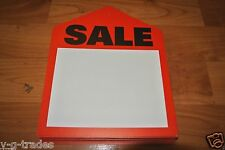 """Lot 50 Red Oversized Large Sale Price Tags Labels 6"""" x 7-1/2 Pre-punched Hole"""