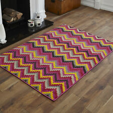 Quality Multi Colour Alpha 80 X 150cm Thick Soft Budget Modern Small Rugs 6. Wave Fuschia Pink Orange