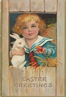 ~Little Girl with Cute White Bunny Rabbit~Antique~ Easter Postcard-p446