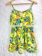 Akira Chicago Red Label Yellow Floral Tank Top Blouse Lace Hawaiian Sz M Medium