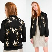 Zara Black Floral Embroidered Satin Long Sleeve Zip Front Bomber Jacket, size S