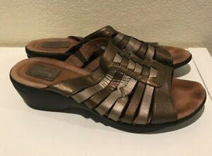 Womens Clarks Artisan Metallic Leather Slides Sandals Size 11M