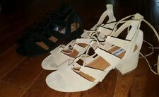 Lot of 2! Steve Madden suede gladiator block sandals size 8.5 Sand & Black!!