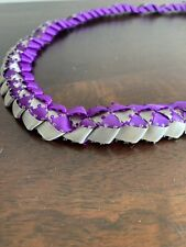 Ribbon Lei Silver And Purple 32in
