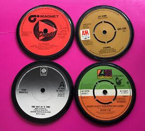 4 Quality, Hand Crafted, Genuine 1970s Retro Vinyl Record Coasters