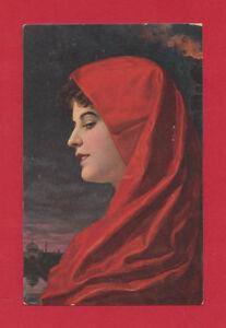 STENGEL & CO SILVIA PORTRAIT WOMAN IN RED BY WILHELM HUNGER VTG POSTCARD #29295
