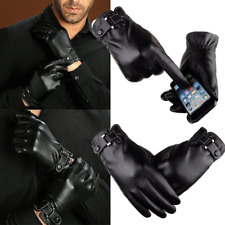 Black Men Winter Driving Gloves Genuine Lambskin Leather Wool Lining Waterproof