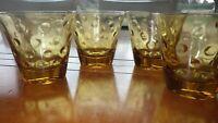 Amber Capri Dots juice glasses by Hazel Atlas circa 1960 4 9 oz flat bottom glas