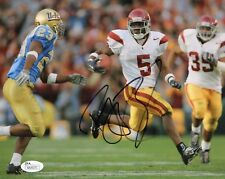 REGGIE BUSH #5 SIGNED USC TROJANS FOOTBALL 8X10 PHOTO w/JSA FIGHT ON! HEISMAN