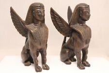 19th century Egyptian Revival  Bronze Winged Sphinx Pair Figures