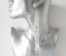 Gorgeous extra long silver tone chain & cross layered drop earrings * NEW *