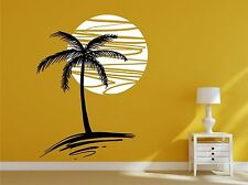 Exotic Palm tree and sunset. Any colour combination. Wall sticker art decal.