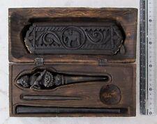 OLD Bronze Tattoo Needle & Teak Case & Bamboo Buddhist Sutra Lord Hanuman Design
