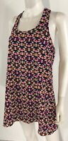 As U Wish Blouse Tunic Top Short Dress Sleeveless Navy Blue Multi Color SZ S