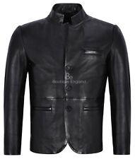 Para Hombre Chaqueta De Cuero Negro Clásico Stand Up Collar 100% Piel De Cordero Cuero 4746