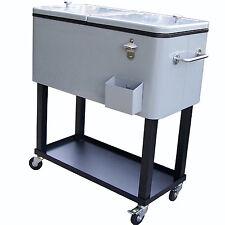 L 00004000 arge Rolling Patio Cooler Cart Party Size Bottle Outdoor Deck Back Yard Steel