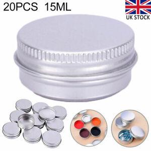 20x 15ml screw lid Aluminium Cosmetic Balm Jars Empty Pots Lip Candle Tin Silver