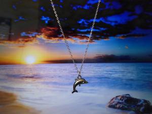 Dolphin Pendant Necklace Silver Colour Chain Women Men Free Gift Bag UK