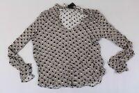 Nu Denmark Women's Printed Ruffle Detail Long Sleeve Blouse GG8 Grey Small NWT