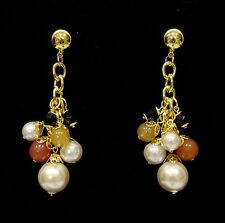 Gold Plated Pearl Earrings Vintage Costume Jewellery