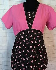 Pink Panther Women's Scrub Top Extra Small Color Pink Black