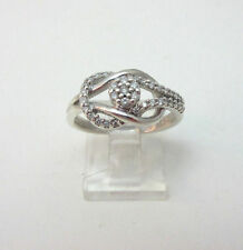 STERLING SILVER DIAMOND LOVE KNOT RING SIZE 6  ***
