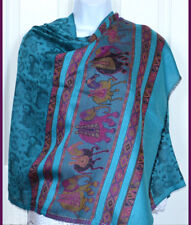 Pashmina Silk blend Shawl, Stole,Wrap elephant design Turquoise Black India