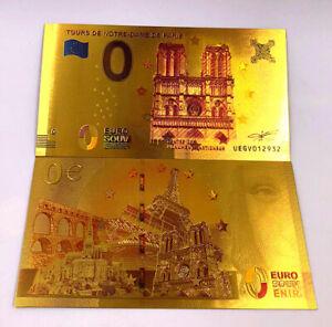 """★★ BILLET POLYMER  """" OR """" 0 EURO PARIS / NOTRE DAME ★★ REF0.803"""