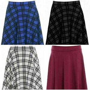 Ladies Plain Printed Swing Skater Skirt Womens Flared Waistband Midi Skirt