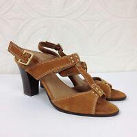 Women's CIRCA JOAN & DAVID Tan Brown Suede Heeled Slingback Sandals Shoes Sz 9 M