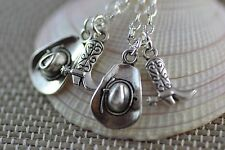 NC044-2 Two Cowboy Hat And Boot Necklaces, Best Friends, Cowgirls, Sisters, Mum