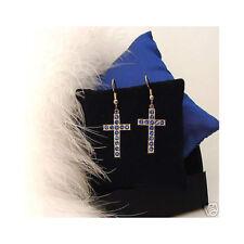 Strass KREUZ Ohrringe Blau   Czech Rhinestone Cross Earrings Blue - sc036