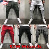 Men's Casual Sport Track Suit Pocket Sweat Pants Gym Sweatpants Slim Fit Trouser