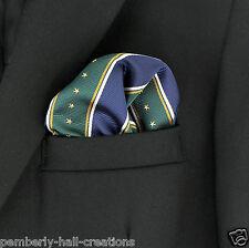 Stars & Stripes Navy Blue & Green Mens Suit Pocket Square Handkerchief Hanky New