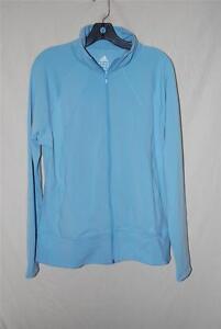 Adidas adiShape Climalite Track Jacket Soccer Running Tennis Light Blue Womens S