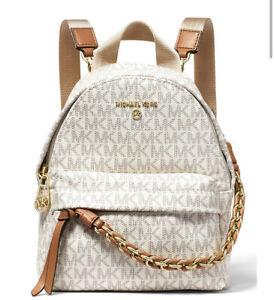 ❤️ Michael Kors Slater Extra Small Convertible Messenger Vanilla/Acorn Backpack