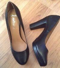 "New 🌷Clarks 🌷Size 7.5 Abby Black Platform Leather Shoes (41.5 EU)Work 3,8""Heel"