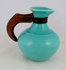 Gladding McBean El Patio Table Ware Coffee Jug in Glacial Blue, Wood Handle